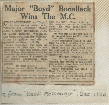 Cutting from Kent Messenger December 1943 about BG Bonallack's award of the Military Cross for gallant and distinguished services in Sicily