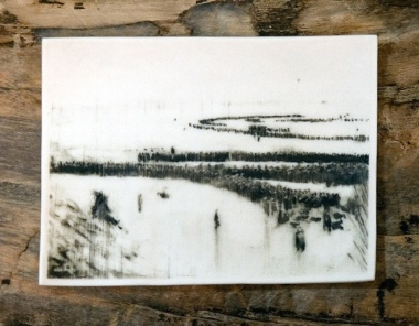 Dunkirk Phossil 68 by Charlie Bonallack. Image of troops on beach and dunes near Dunkirk May 1940 interpreted from photo in IWM archive, hand-painted on porcelain. for more
