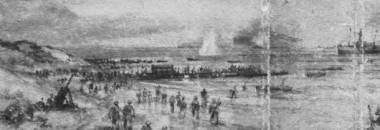 A detail from 'Embarkation from Dunkirk' by EC Turner, the book jacket image for Gun Buster's 'Return via Dunkirk'