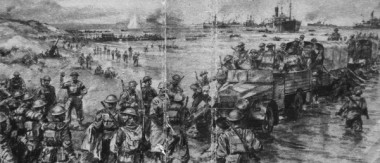 Embarkation from Dunkirk (detail), drawing by EC Turner for jacket of Gun Buster's 'Return via Dunkirk'