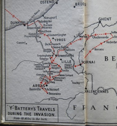 Map from Return via Dunkirk by Gun Buster.  When his account of their rearguard action covering the retreat begins, Y Battery are stationed at Ypres, from where they see the great mass of retreating troops converging on Dunkirk