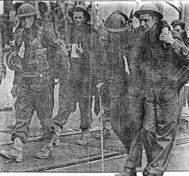 Clipping from a London newspaper preserved by one of the soldiers shown; Alec J. Harrison, second from left, was among the last soldiers to be evacuated from Dunkirk, and lived until his 80's. Photo contributed by his cousin's daughter, Linda Rowley, and more of his story can be found in the comments at the end of today's page.