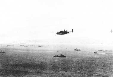 Aerial photo from IWM archive, taken from RAF reconnaissance plane in May 1940, of rescue ships and boats approaching Dunkirk waters