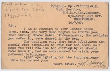 Vivienne Menkes-Ivry's father's Dunkirk postcard